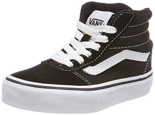 Vans Ward Hi Classic, Baskets Hautes Mixte Enfant Noir ((Suede/Canvas) Black/White Iju) 37 EU
