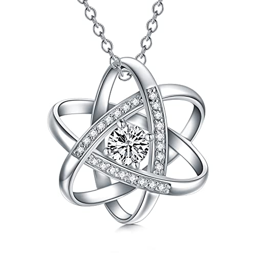 Nature Diamond Celtic Love Knot Necklace for Women endless Flower Pendant Necklace set with 5mm Moissanite 925 Sterling Silver Jewelry Birthday Gift for Her 18'+2'