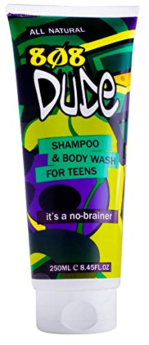 808Dude Shampoo and Body Wash for Teen Boys and Men. Pure Organic Safe Natural Ingredients Clear Body Odor and Prevent Breakouts with Essential Oils for Memory Focus & Anti-Anxiety Support 8 fl oz