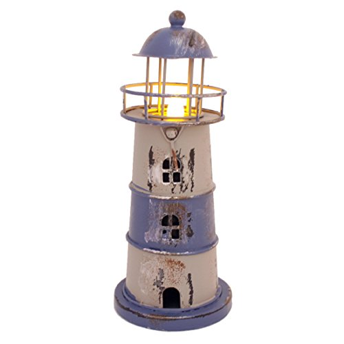 "7.2"" High Metal Nautical Lighthouse Tea Light Wedding Lamp with Flameless LED light (Blue)"