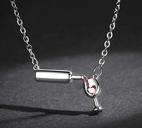 TIANHQ Collar Colgante De Copa De Vino Lleno De Platino Collar De Botella De Cerveza De Vino para Mujer Joyas, Plata