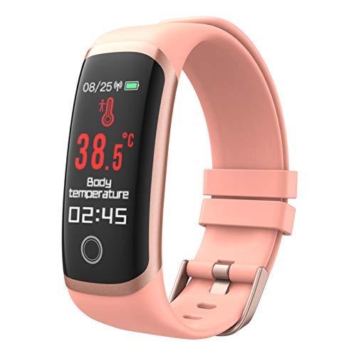 YZPFSD Smart Watch, Medidor De Temperatura Corporal, Contador De Calorías Y Kilómetros, Monitor De Ritmo Cardíaco, A Prueba De Agua, Compatible con iOS Y Android. Reloj Inteligente Deportivo,Pink