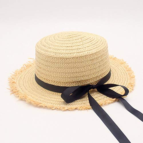 CHUJIAN Hot koop Flat High zonnehoed Zomer Lente Women's Travel Caps Verbanden Beach Child traw Hat Ademende Bloem van de manier (Color : Beige, Size : Adult size 56 58cm)