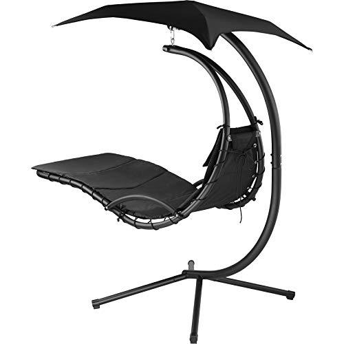 TecTake 800699 Hängeliege mit Gestell und Sonnendach mit UV Schutz, 195 x 118 x 202 cm, ergonomisch geformte Liegefläche, inkl. Sitz- und Kopfpolster - Diverse Farben – (Schwarz | Nr. 403074) - 2