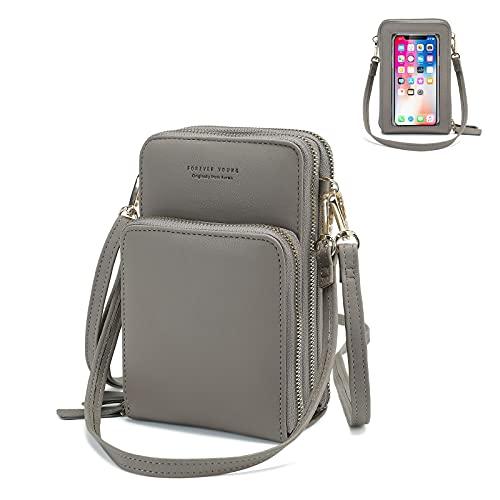 Mini bolso de mano para celulares inteligentes con ranuras para tarjetas de crédito, gris
