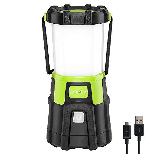 EULOCA Lámpara Camping LED, 1200lm USB Recargable, 4 Modos, Linterna de Camping Recargable Intensidad Regulable, Linterna Camping para Pesca, Excursión, Jardín, Patio etc.