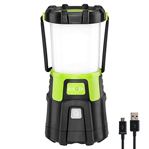 EULOCA Camping Lantern LED, Super Bright 1200lm Dimmable, 4 Light Modes,4400 mAh Power Bank Waterproof Tent Light, Perfect Work Flashlight for Hurricane, Emergency and More (Rechargeable 4400mAh)