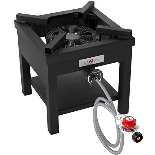 GasOne B-5350 270,000 BTU Rugged Propane Burner Cooker With 0-30 PSI Regulator with Pressure Gauge For Outdoor Cooking, Turkey Fry, Black