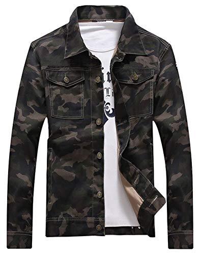 LifeHe Men Camouflage Slim Fit Denim Jacket Jeans Coat 2017 (M, Camo)