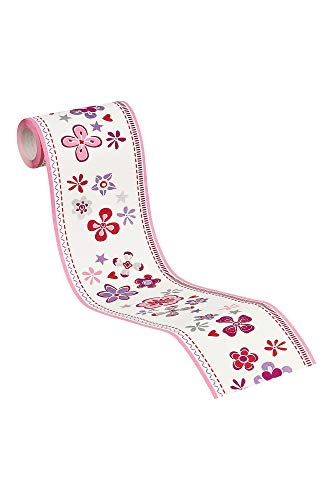 Esprit Home Bordüre Girls Dreams Vlies 5,00 m x 0,13 m rot lila weiß Made in Germany 941273 94127-3