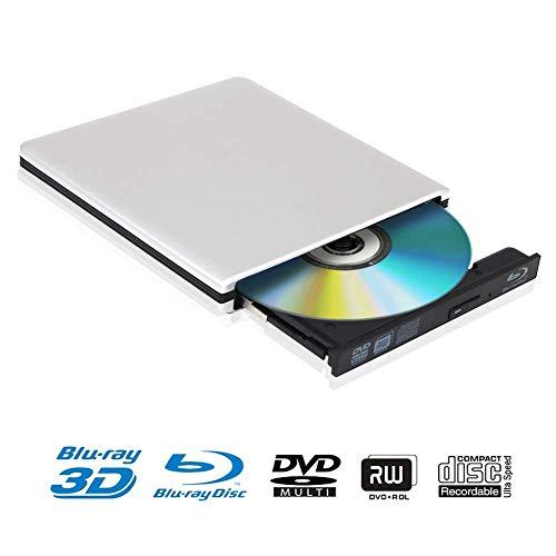 Lettore Masterizzatore Dvd Blu Ray 4k Esterno Portatile Ultra Sottile USB 3.0 CD DVD RW Lettore Disco per Laptop/Desktop MacBook, Win 7/8/10, Linux, PC