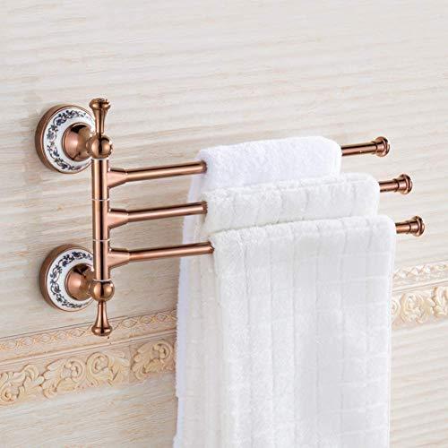 SCJ Toallero Giratorio, Barra de Toallas, Soporte de Toallas de Oro Rosa Dorado Estante de Toallas de baño-C 32 cm (13 Pulgadas)