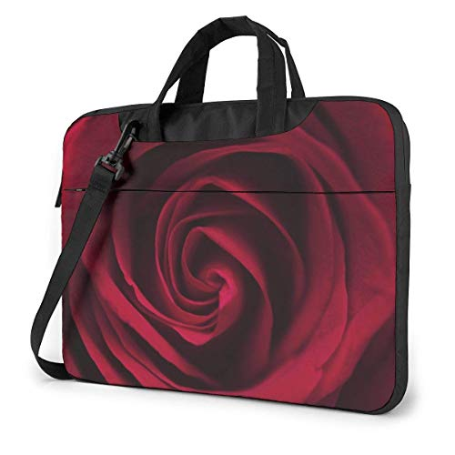 Beautiful Red Rose Flowers Petal 15.6 in Laptop Bag Computer Protective Cover Handbag Shoulder Bag