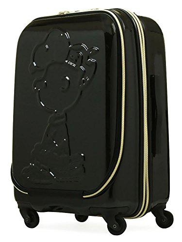 [スヌーピー] スーツケース 49.3L/55.2L 56cm 3.5kg PN-009 フロントオープン 拡張 ハード TSAロック BLACK