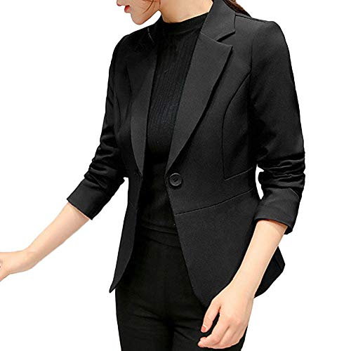 NPRADLA 2018 Damen Blazer Elegant Langarm Frauen Kurze Mantel Jacke Strickjacke Einfarbig Anzug Büroarbeit Knopf Dünne(Schwarz,S/EU Gr.38)