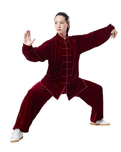 JXS Tai Chi Uniform Kung Fu Kleidung Wushu Anzug - Plus Samt warm zu halten - für traditionellen chinesischen Kampfsport Training Kleidung,Rot,XS