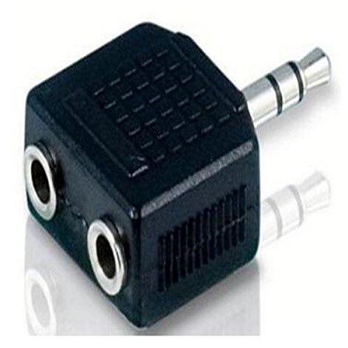 RRunzfon Adaptador Audio para Jack Splitter DE 3,5mm con nichelatura-Nero