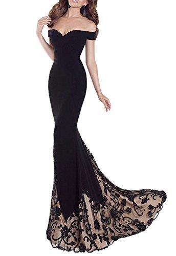 Queen Diana Mujer Fuera del Hombro Maxi Largo Noche Paseo Vestir Bordado Sirena Fiesta Formal Cóctel Vestidos (Negro, Large)