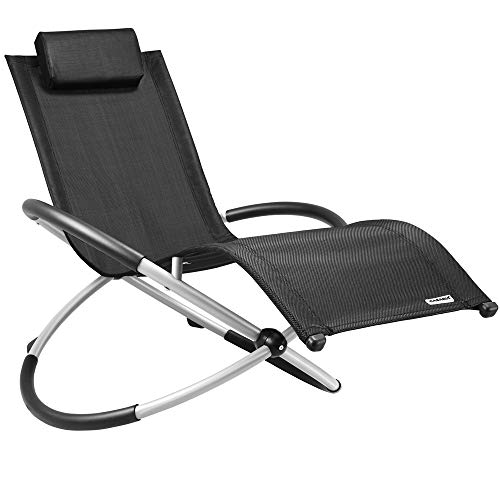 Casaria Gravity Sun Lounger Ergonomic Folding Swinging Chair Grey