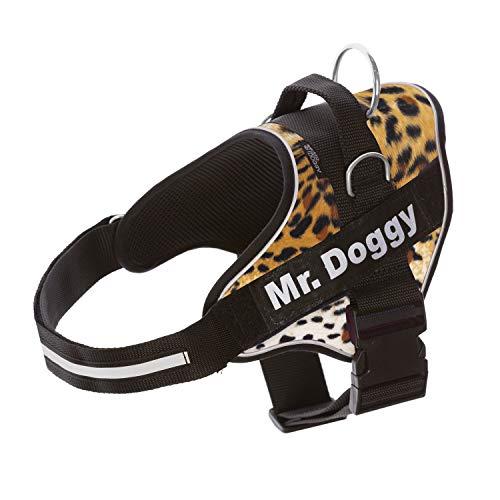 Pettorina per cani personalizzata - Imbracatura per cani riflettente e sicura - Include 2 targhette con nome - Taglia piccola, media e grande - Qualità e resistente (L 20-35KG, Leopard)