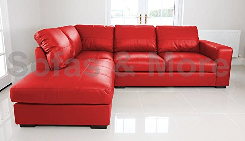 WESTPOINT - CORNER SOFA – FAUX LEATHER – LEFT HAND SIDE (red)