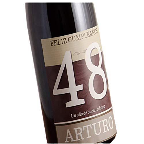 CALLE DEL REGALO Regalo Personalizado, Botella de Vino 'Feliz cumpleaños' Personalizada con su Nombre y Edad