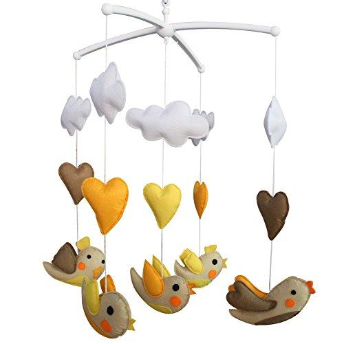 Berceau de lit de bébé rotatif coloré jouets de bébé [Oiseaux jaunes]