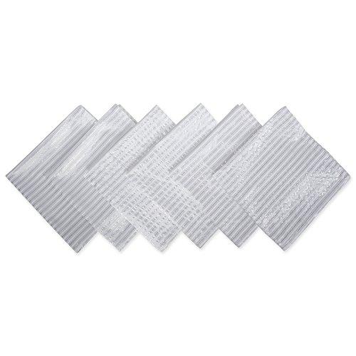 DII Hanukkah Collection Kitchen Tabletop, 20x20, Silver Stripe 6 Piece