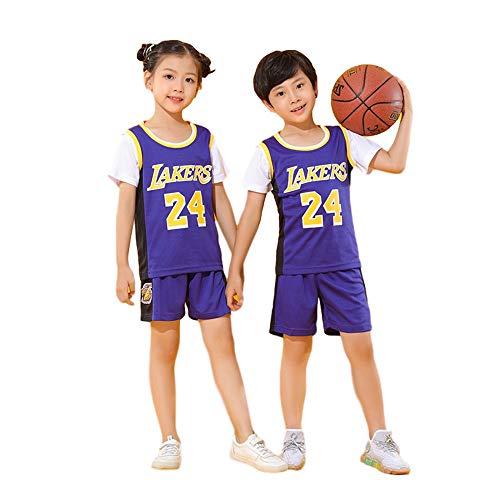 BASPORT 24#Jersey per Bambini Jersey,T-Shirt,Maglia Giocatore di Basket.Tuta Sportiva,Ragazzo, ragazzaJersey (Viola, XXL)