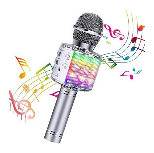 Inalámbrico 4 en 1 Micrófono Karaoke Bluetooth con luz LED, micrófono portátil para niños, Mejor Juguete de Regalo (Rosa) para niños, niñas, niños y Adultos, el Juguete...