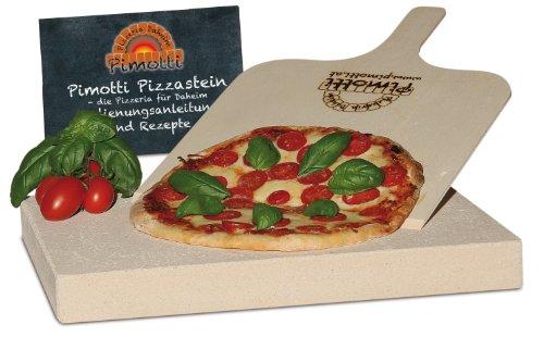 Pimotti 202_003 Schamott Pizza-/Brotback Stein, Schaufel und Anleitung mit Rezepte im Set, 4 cm