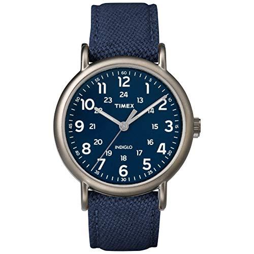Timex Men's TWF3C8450 Weekender 40 Blue/Titanium Two-Piece Leather/Fabric Strap Watch