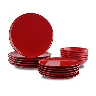 AmazonBasics 18-Piece Stoneware Dinnerware Set - Fire Engine Red, Service for 6