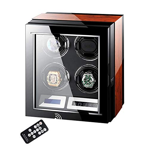 XIUWOUG Expositor automático de relojes con pantalla LCD, supersilencioso, motor de piano de madera, con mando a distancia y carcasa LED elegante (tamaño: 4+0)