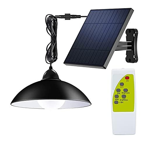 Solarleuchte für Außen/Innen, Itscool Solarlampen Außen mit Fernbedienung, 3-Grade-Helligkeit IP65 Wasserdicht, 5 m Kabel Solar Pendelleuchte (Weißes Licht)
