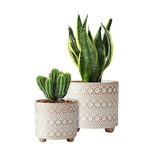 Set mit 2 Blumentöpfen, 10,2 cm und 15,2 cm, modernes Design, Keramik-Pflanzentopf mit Ablaufloch, Gold/Weiß