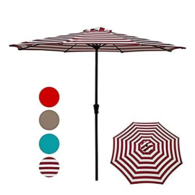 COBANA Patio Umbrella,Outdoor Table Market Striped Umbrella with Push Button Tilt/Crank, Red and White Stripes