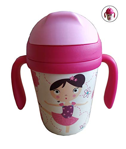 Bamboe Kinder Beker met Rietje - Glas met Handvatten, Deksel en Mondstuk (Bamboevezel) 300 ML - Voor Kinderen of Baby - Ecologisch, Licht, Veilig Materiaal - Eco Fles, Bio, BPA-vrij - Vaatwasbestendig