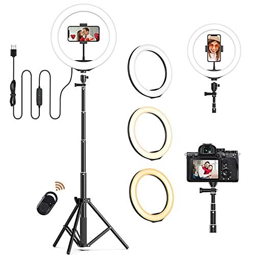 Ringlicht mit Stativ und Handyhalter 10 Zoll LED Ringlicht , JEEMAK Selfie Licht Ringleuchte für YouTube/Live Streaming/Selfie/Makeup/Fotografie/TikTok, für iOS/Android