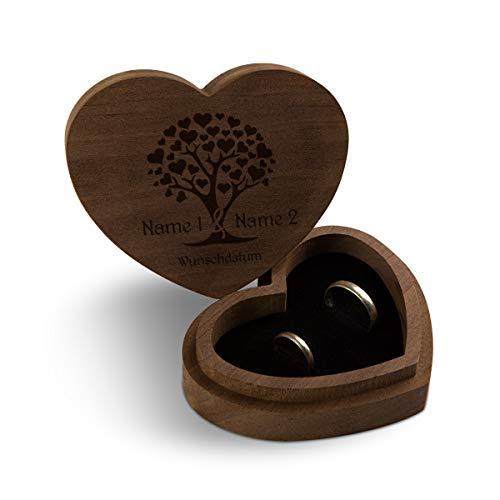 Hochzeit Ringbox Herz Ringkissen Ringschachtel individuell 10 x 8,5 cm Kebony Holz - Herzbaum