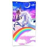 "pinata Unicorn Beach Towel Sand Free, Microfiber Rainbow Bath Towels for Kids Adults, Air-Castle Beach Blanket Oversized 30"" X 60"", Large Towels for Travel, Sports, Swim, Spa"