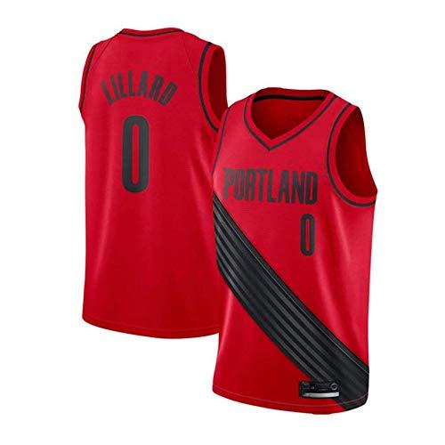 HANHJ Hombres Sra. NBA Portland Trail Blazers 0# Lillard Camiseta De Baloncesto Retro Camisetas De Verano Uniformes De Baloncesto Bordado Tops Traje De Baloncesto,Red-XL
