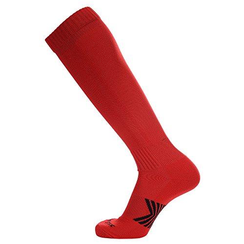 Laulax Coolmax - Calcetines de fútbol en 10diseños, talla 41-46, hombre, color rojo, tamaño large