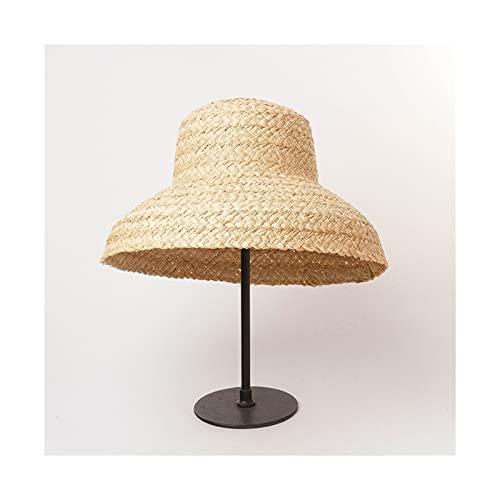 Sombrero para el Sol Sombrero de Paja Hecho a Mano para Mujeres Retro Plano Grande Sombrero de Paja señoras al Aire Libre Sol Playa Verano Sombreros Sombrero de Playa (Color : C, Size : L)