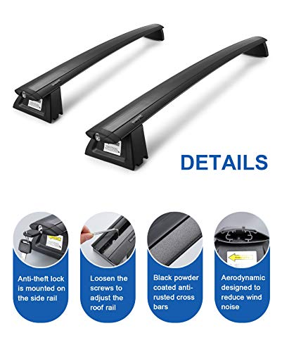 Autekcomma Replacement for Grand Cherokee roof Rack crossbars 2011-2020 for Factory Side Rail System,High Strength Aluminum Black Matte Powder Coated (Sold as 1 Pair)