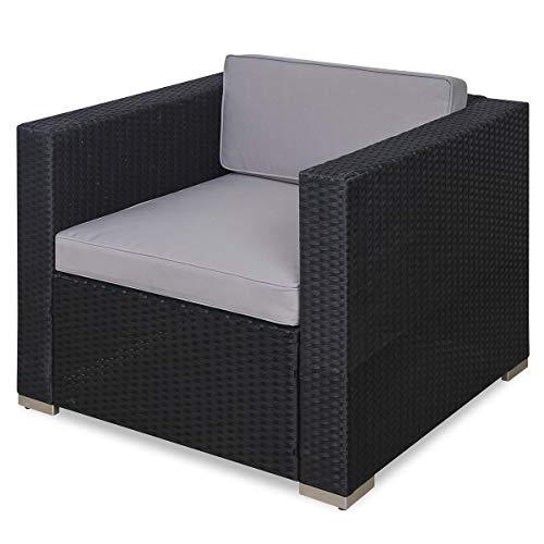 SVITA Sessel für Polyrattan Lounge Lugano/California Ergänzung Rattan (Schwarz)