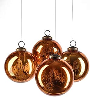 Serene Spaces Living Set of 4 Antique Copper Mercury Glass Balls, Ornaments for Holiday Décor, Measures 4