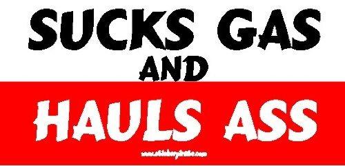 Sucks Gas and Hauls Ass Offroad Bumper Sticker/Decal