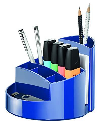 HAN Schreibtischköcher RONDO – eleganter Köcher mit 9 Fächern, stabil, hochglänzend und in Premium-Qualität, blau