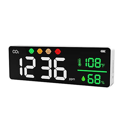Huante Medidor de CO2 Monitor de Calidad del Aire Interior Alarma LCD Digital DióXido de Carbono Temperatura Detector de Humedad Analizador de Sensor NDIR